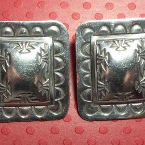 Rectangle Sterling Silver Native American Earrings